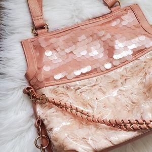 Melie blush pink floral sequined handbag